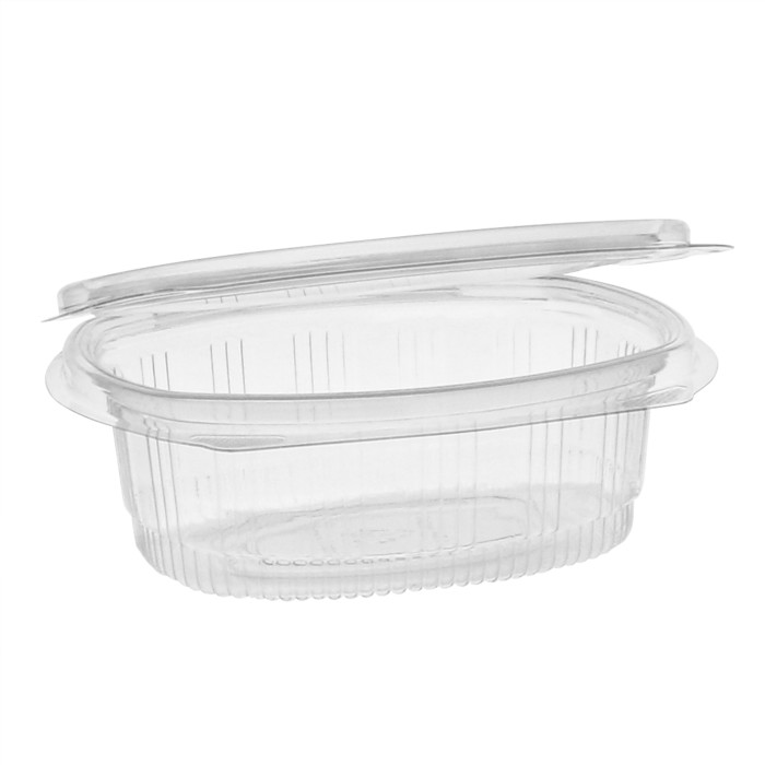 12oz Recycled Plastic Hinged Lid 1 Compartment Takeout Deli Container, Clear, 200 ct.