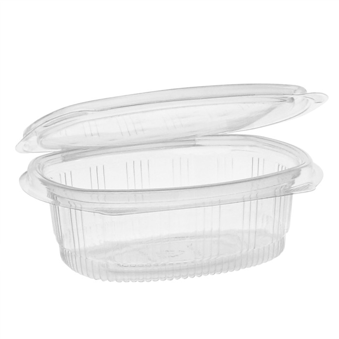 16 oz Recycled Plastic Hinged Lid 1 Compartment Takeout Deli Container, Clear, 200 ct.