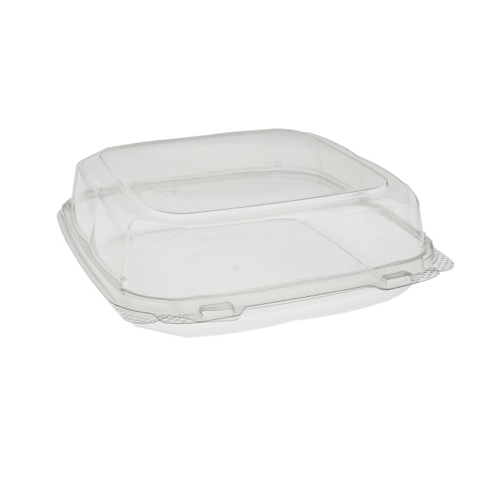 "9"" x 9"" x 3"" Recycled Plastic Hinged Lid 1 Compartment Takeout Container, Clear, 250 ct."