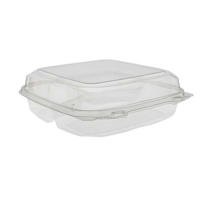 "9"" x 9"" x 3"" Recyclable RPET Hinged Lid 3 Compartment Takeout Container, Clear, 250 ct."