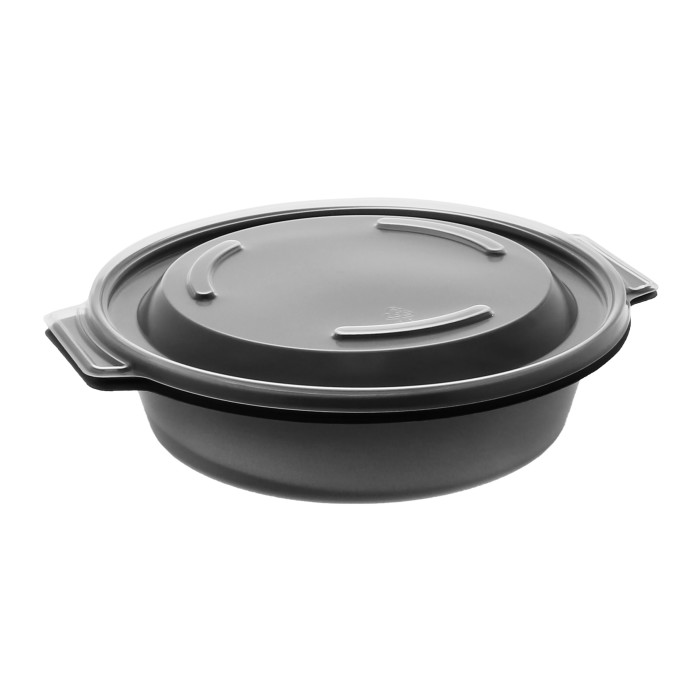 "7"" 16 oz Microwavable Round Takeout Container With Lid (Combo), Black and Clear, 252 ct."