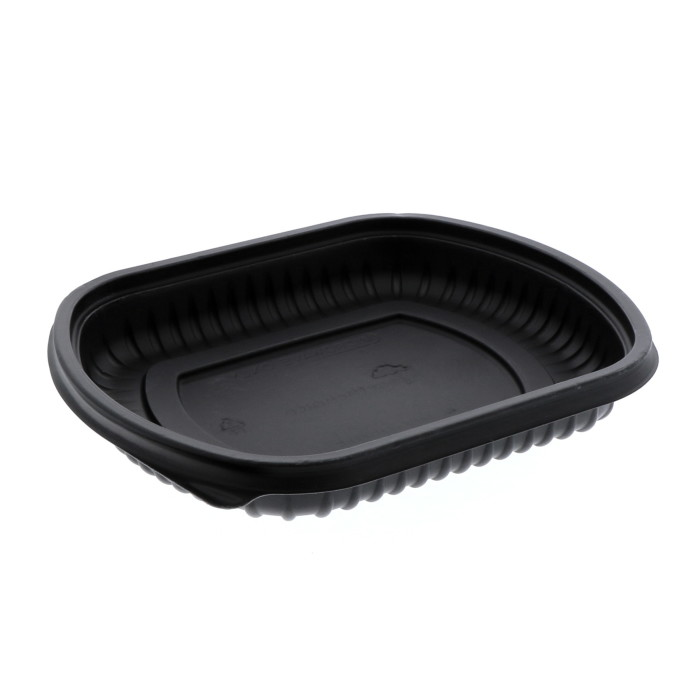 "16 oz, 8"" x 6.5"" x 1"" Microwavable Rectangle Takeout Container Base, Black, 252 ct."