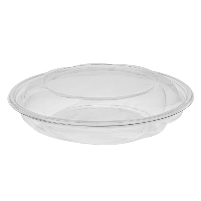 "10"", 40 oz. Round Take Out Swirl Bowl With Lid Combo, Clear, 100 ct."
