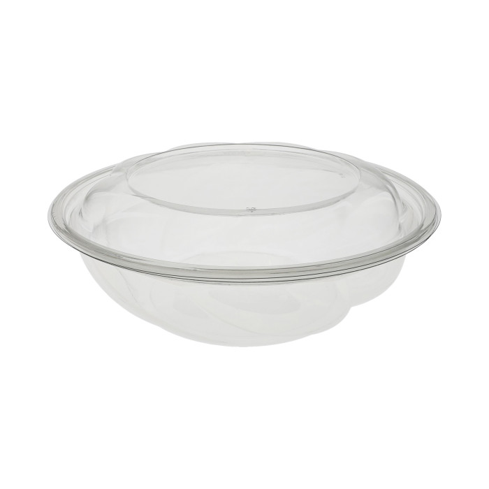 "10"", 64 oz. Round Take Out Swirl Bowl With Lid Combo, Clear, 100 ct."