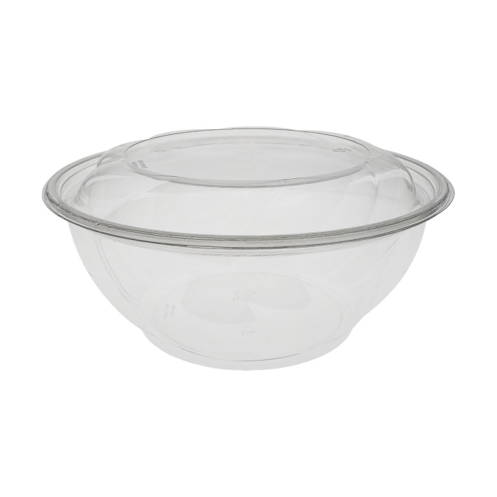 "10"", 96 oz. Round Take Out Swirl Bowl With Lid Combo, Clear, 100 ct."