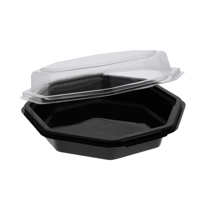 22 oz. RPET Hinged Lid Octagon Take Out Container, Black Base and Clear Lid, 150 ct.