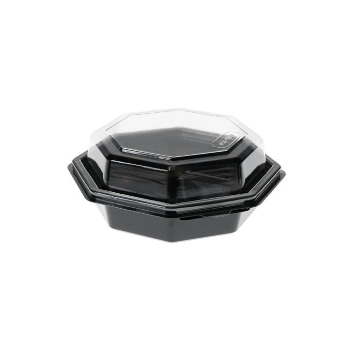 16 oz. Recyclable RPET Hinged Lid Octagon Take Out Container, Black Base and Clear Lid, 150 ct.