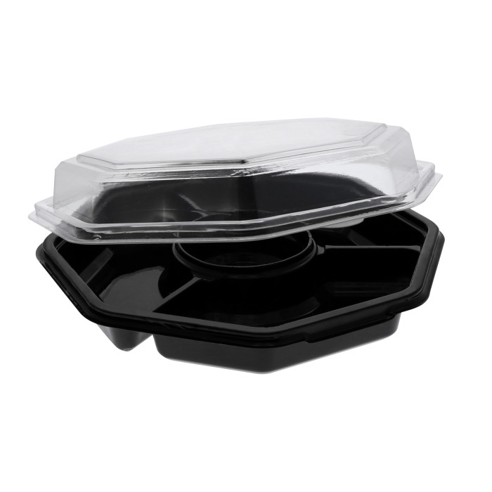 32 oz. 4-Compartment Recyclable RPET Hinged Lid Octagon Take Out Container, Black Base and Clear Lid, 150 ct.