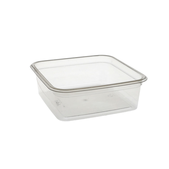 "6"", 24 oz. Recycled Plastic Square Container, Clear, 360 ct."