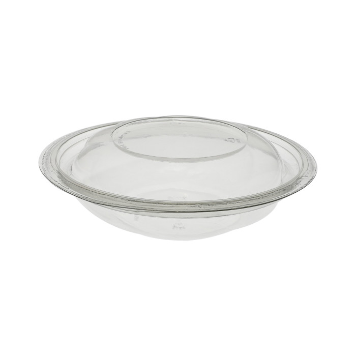 "7"", 16 oz. Recyclable Round Take Out Swirl Bowl With Lid, Combo, Clear, 300 ct."
