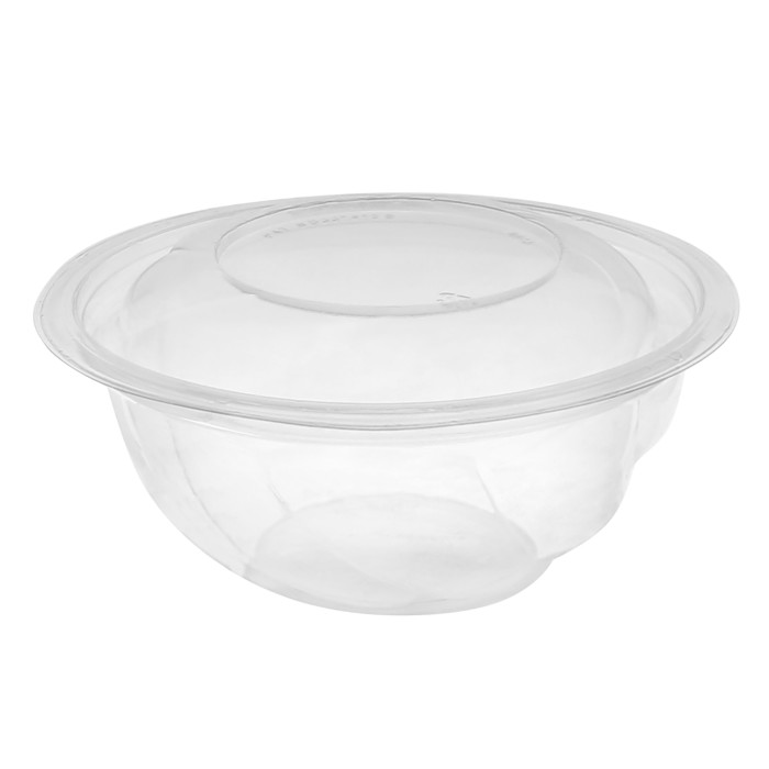 "7"", 24oz Recyclable Round Take Out Swirl Bowl With Lid (Combo), Clear, 300 ct."