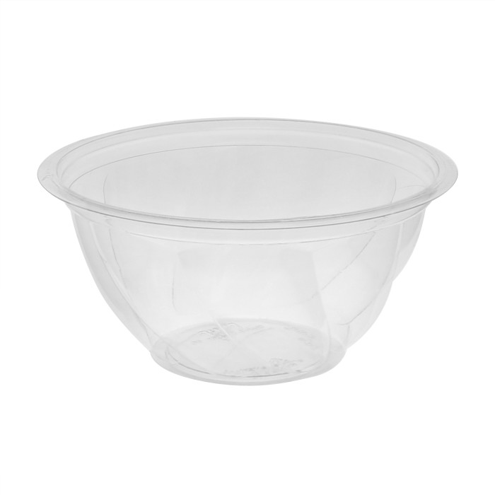"7"", 32 oz. Round Recycled Plastic Take Out Swirl Bowl, Bulk, Clear, 600 ct."