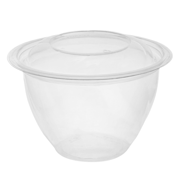 "7"", 48 oz. Round Take Out Swirl Bowl With Lid Combo, Clear, 150 ct."