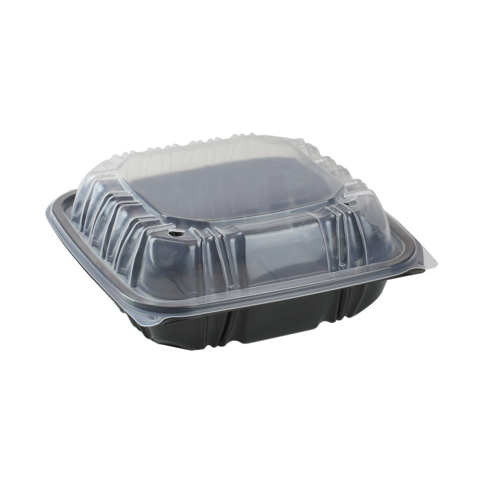 "8.5"" X 8.5"" Vented Microwavable 1-Compartment Hinged-Lid Takeout Container, Black/Clear, 150ct."
