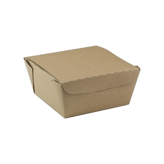 "#1, 4.5"" X 4.5"" X 2.5"", 37 oz. OneBox® Compostable Paper Kraft Box, 456 ct."