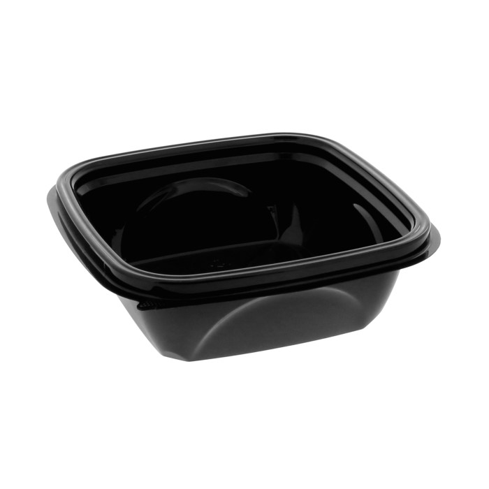 "12 oz. 5"" x 5"" Square Recycled Plastic Bowl, Black, 504 ct."