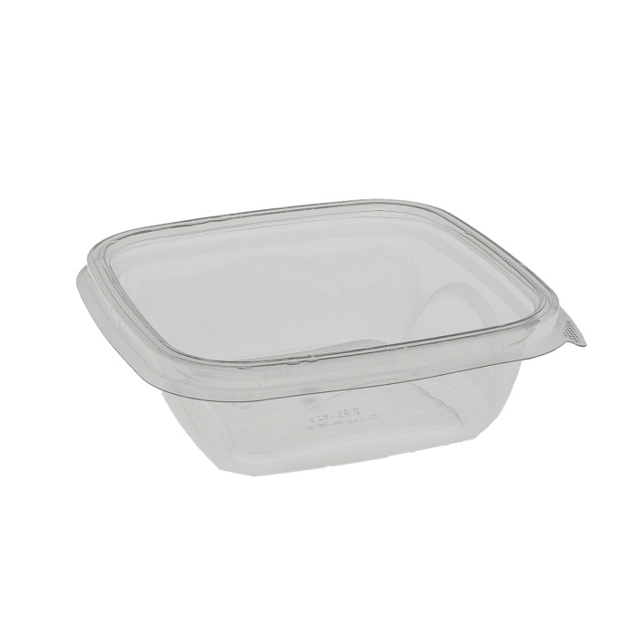 "12 oz 5"" x 5"" Square Recycled Plastic Bowl, Clear, 504 ct."