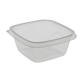 "16 oz. 5"" x 5"" Square Recycled Plastic Bowl, Clear, 504 ct."