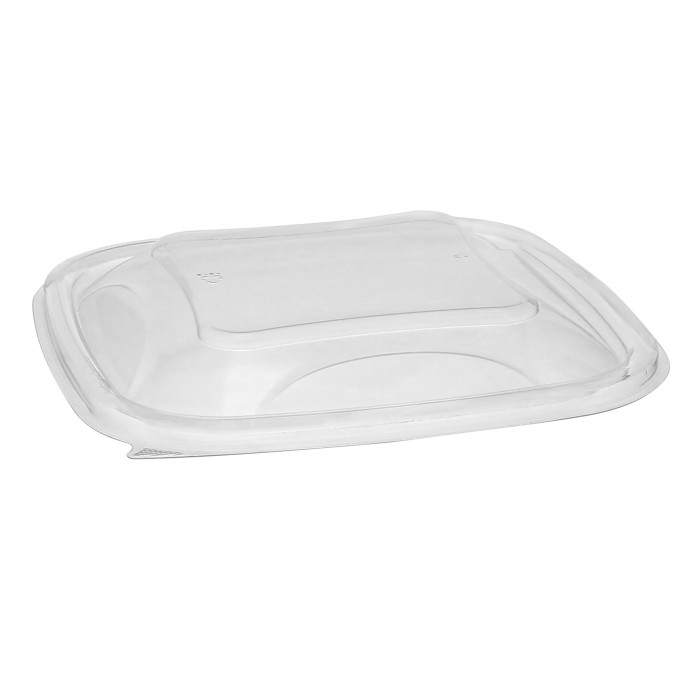 "7"" x 7"" Recycled Plastic Square Dome Lid for 24–32 oz. base, Clear, 300 ct."