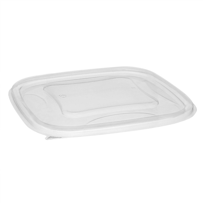 "7"" x 7"" Recycled Plastic Square Flat Lid for 24–32 oz. base, Clear, 300 ct."