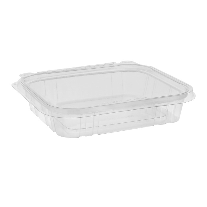 16 oz Shallow Tamper Evident Recycled Plastic Hinged Deli Container, Clear, 240ct.
