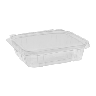 20 oz Tamper Evident Recycled Plastic Hinged Deli Container, Clear, 234ct.
