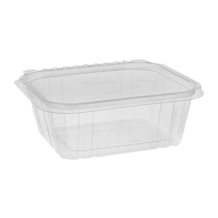 32 oz Tamper Evident Recycled Plastic Hinged Deli Container, Clear, 225ct.