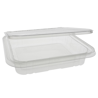 35 oz Shallow Tamper Evident Recycled Plastic Hinged Deli Container, Clear, 160ct.