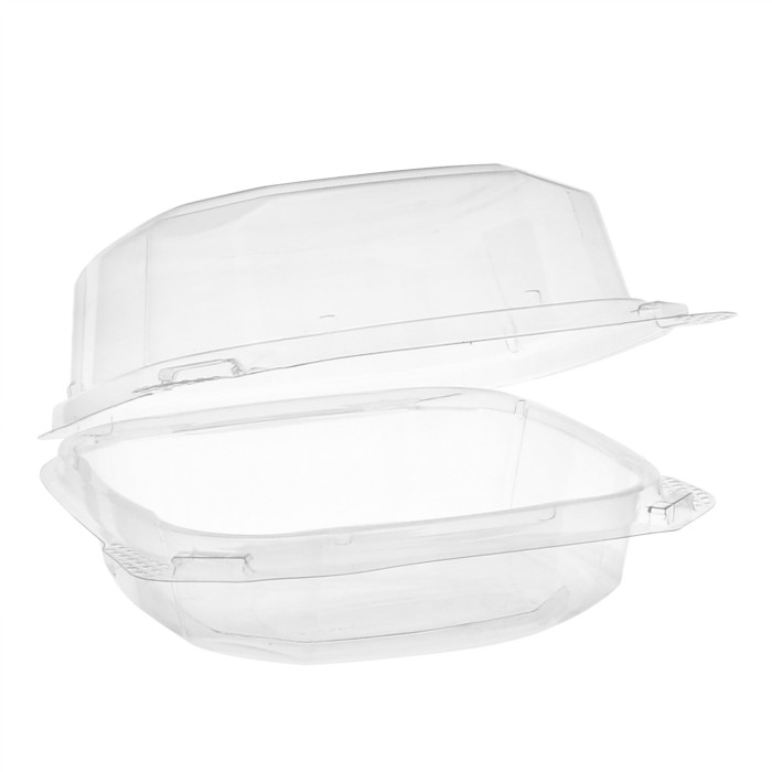 "6"" x 6"" x 3"" Recycled Plastic Hinged Lid 1 Compartment Takeout Container, Clear, 400 ct."