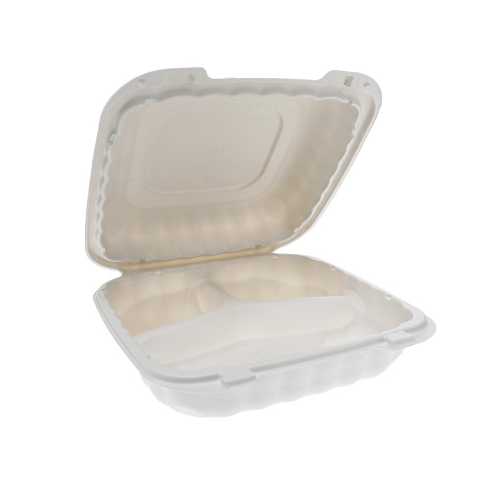 "8"" x 8"" x 3"" Microwavable 3-Compartment Hinged-Lid Takeout Container, White, 200 ct."