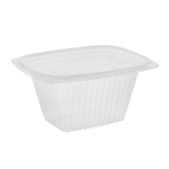 16 oz Compostable Deli Container With Lid (Combo), Clear, 255 ct.