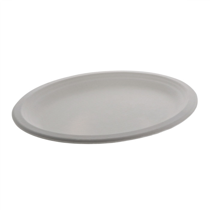 "9.875"" X 12.5"" Compostable Fiber-Blend Bagasse Platter, Natural, 500 ct."