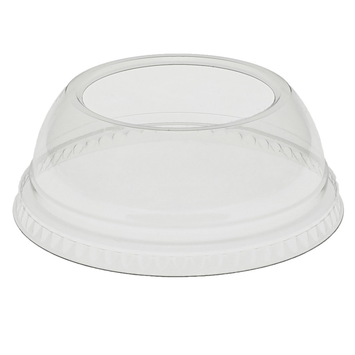 Recycled Plastic Dome Lid with Hole for 9-20 oz RPET Cups, Clear, 900 ct.