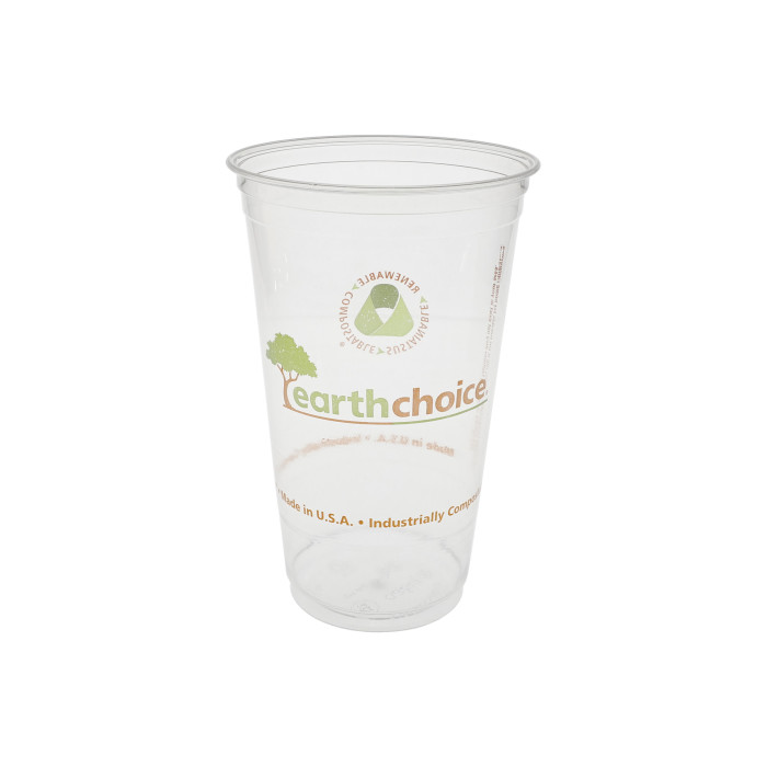 24 oz. Compostable Cold Cup, Clear, Printed, 580 ct.