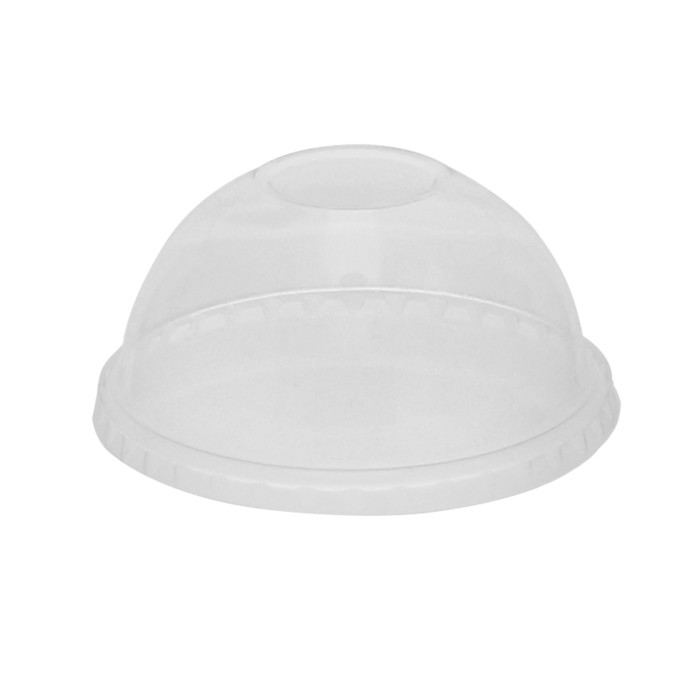 Compostable Cold Cup Dome Lid with No Hole for A Cups, Clear, 900 ct.
