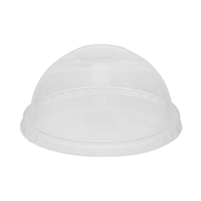 Compostable Cold Cup Dome Lid with No Hole for B Cups, Clear, 900 ct.