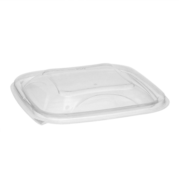 "5"" x 5"" Recycled Plastic Square Dome Lid for 8, 12, 16 oz. base, Clear, 504 ct."