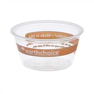 2 oz. Compostable Printed Soufflé Portion Cup, Clear, 2,400 ct.