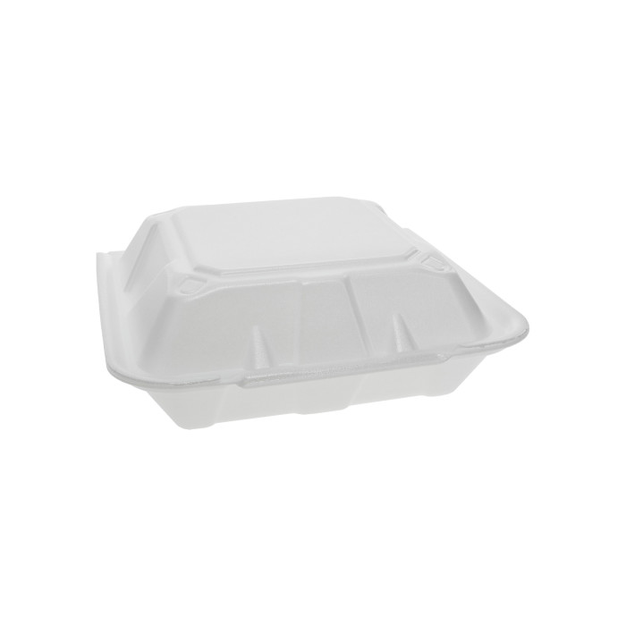 "9"" x 9"" x 3"" Vented Foam 1-Compartment Hinged-Lid Takeout Container, White, 150 ct."