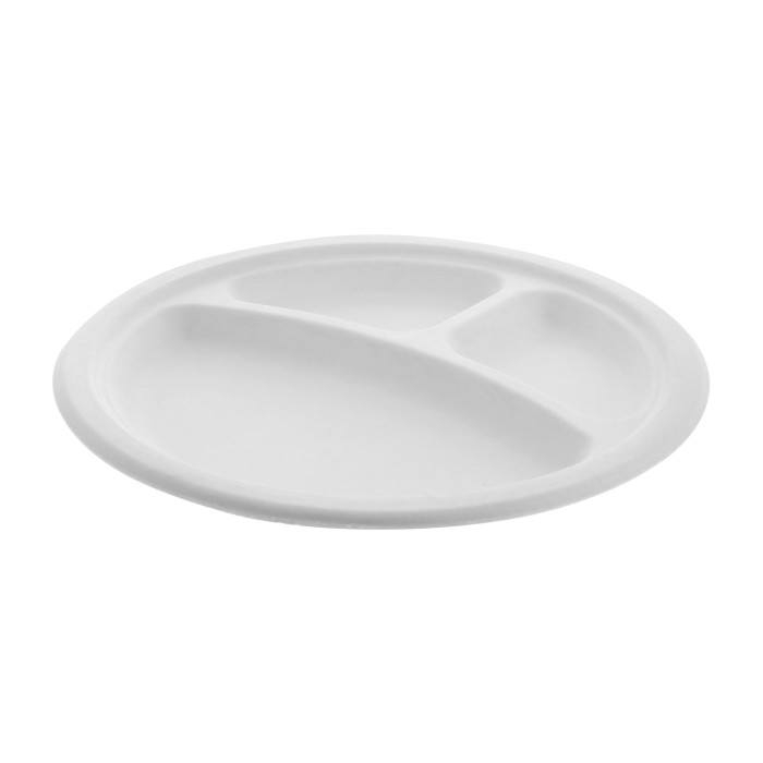 "9"" Compostable 3-Compartment Fiber-Blend Bagasse Plate, Natural, 500 ct."